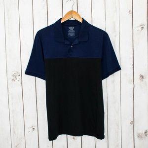 VINCE Men's Short Sleeve Polo Shirt Blue Black